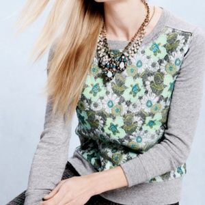J. Crew Floral Brocade Gray Sweatshirt Top